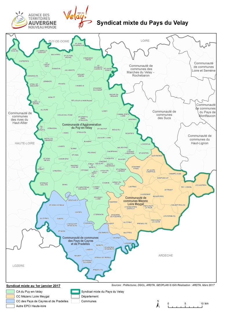 Carte du Pays du Velay au 1er janvier 2017
